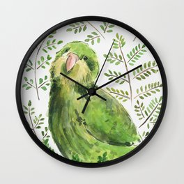 Kakapo in the ferns Wall Clock