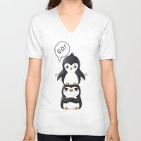 penguins V-neck T-shirts featuring Penguins by Freeminds