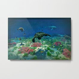 Sea turtles swim through the Mediterranean Sea Metal Print