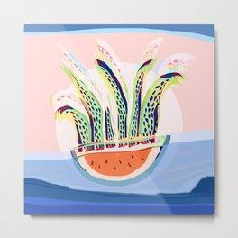 Plant Sun Watermelon Rain Jellyfish Mutants Sequence 4 Metal Print