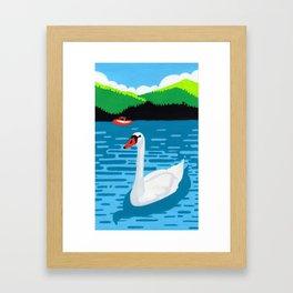 Swan in the lake Framed Art Print