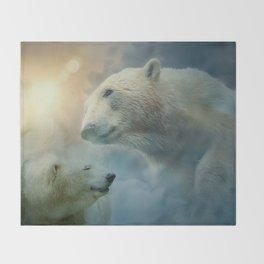 Polar Bears and Sky Throw Blanket
