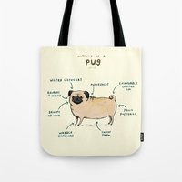 anatomy Tote Bags featuring Anatomy of a Pug by Sophie Corrigan