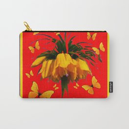 DECORATIVE RED YELLOW FRAMED BUTTERFLIES CROWN IMPERIAL Carry-All Pouch