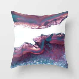 Double Light Blue and Pink Agate Throw Pillow