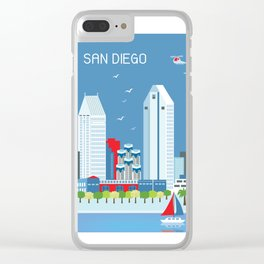 San Diego, California - Skyline Illustration by Loose Petals Clear iPhone Case