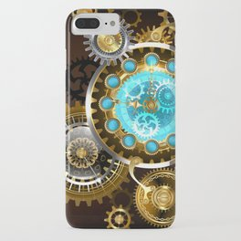 Unusual Clock with Gears ( Steampunk ) iPhone Case