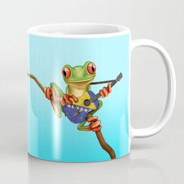 Tree Frog Playing Acoustic Guitar with Flag of Bosnia - Herzegovina Coffee Mug