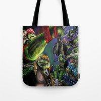 teenage mutant ninja turtles Tote Bags featuring Teenage Mutant Ninja Turtles by artbywilliam