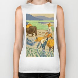 Asano Takeji Rice Transplantation Vintage Japanese Woodblock Print Asian Farmers Sedge Hat Biker Tank