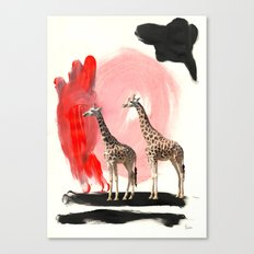 Paint the Blues Away Giraffes Canvas Print