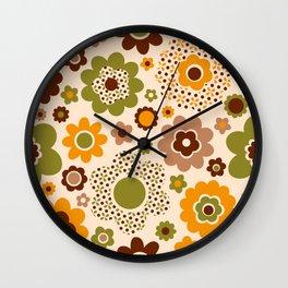 Retro 70s funky flowers brown, orange, green Wall Clock