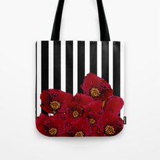 Poppy Stripes - Red Tote Bag