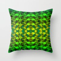 green pattern Throw Pillows featuring Green pattern. by Assiyam