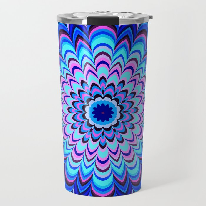 Neon blue striped mandala Travel Mug