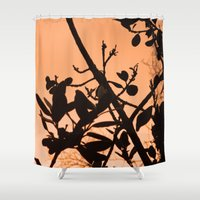 positive Shower Curtains featuring Positive by AlexinaRose