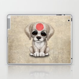 Cute Puppy Dog with flag of Japan Laptop & iPad Skin