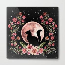 Moon and Cat Metal Print