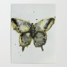 Yellow and Gray Butterfly Poster