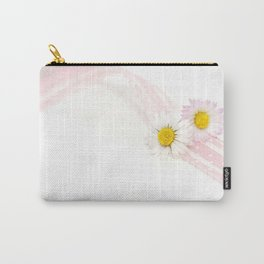 Spring Flowers White and Pink Carry-All Pouch