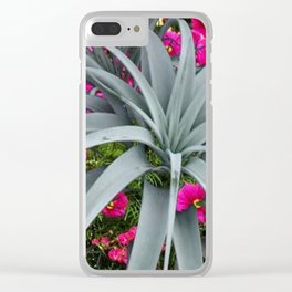 GRACEFUL ARCHING GREY-FUCHSIA FLORAL GARDEN PLANT Clear iPhone Case