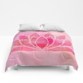 Zen Watercolor Lotus Flower Yoga Symbol Comforters