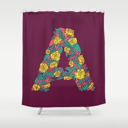 Floral Type - Letter A - Wine Berry Shower Curtain