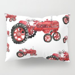 Watercolor old farming red tractor Pillow Sham