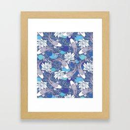 Blue Koi Ripples Framed Art Print