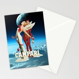 Classic Campari Alcoholic Angel & Devil - Earth, Sun, and Stars Aperitif Advertising Vintage Poster Stationery Cards