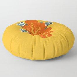 Cute Bugs Eat Autumn Leaf Floor Pillow