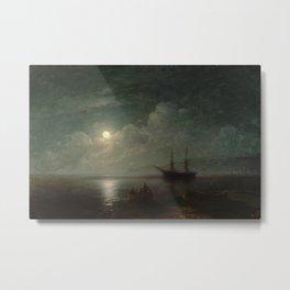 Ivan Aivazovsky - Seascape with Full Moon (1857) Metal Print