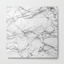 White Marble Stone Metal Print