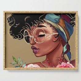 Solitude Blank: African American Black Woman Artwork Serving Tray