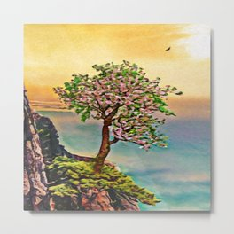 The Loneliest Tree On Mount Huangshan | Painting Metal Print