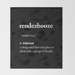 Rendezbooze black and white contemporary minimalism typography design home wall decor black-white Throw Blanket