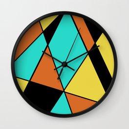 Aqua, Gold, Orange, and Black Geometric Design Wall Clock