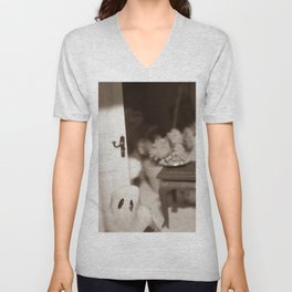 Welcome To Our (Spooky) Home Sepia Unisex V-Neck