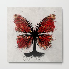Butterfly Tree - Ink and Red Metal Print