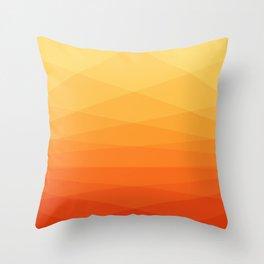 Orange and yellow ombre polygonal geometric pattern Throw Pillow