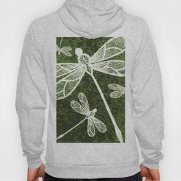 Magical white dragonflies on grunge green background Hoody