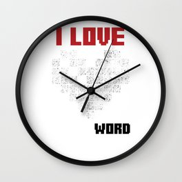 I Love Crossword Puzzle Puzzlers Geek Numbered Squares Thinking Gift Wall Clock