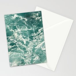 Blue Green Ocean Waves Stationery Cards