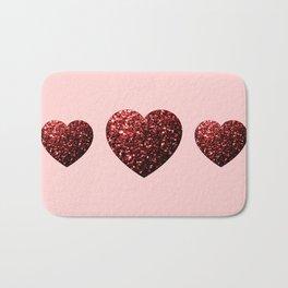 Red Glitter sparkles Heart Bath Mat