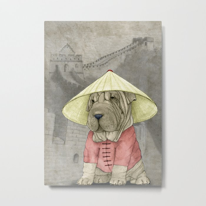 Shar Pei on the Great Wall Metal Print