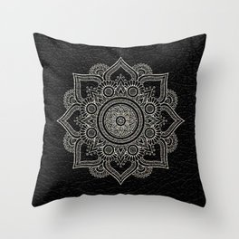N43 - Moroccan Pure Leather with Silver Moroccan Mandala Artwork by ARTERESTING Throw Pillow
