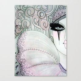 GREY PINK 80S PIERROT CLOWN HARLEQUIN ART DECO PRINT Canvas Print