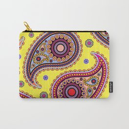 Oriental Persian Paisley, Dots - Yellow Blue Pink Carry-All Pouch