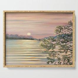 Sunset over a lake Serving Tray
