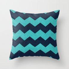 chevron - aqua and navy Throw Pillow